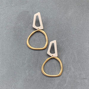 Uneven Rhomboid Earrings - Gold & Ivory