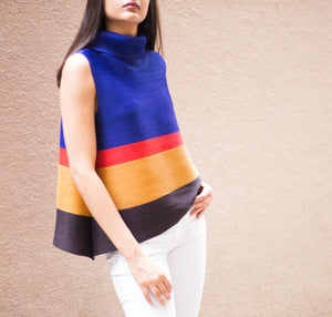 Pleated Turtle Neck  Top - Colour Block Royal Blue