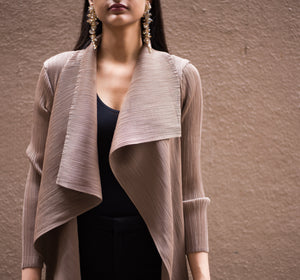 Pleated Overlay - Taupe