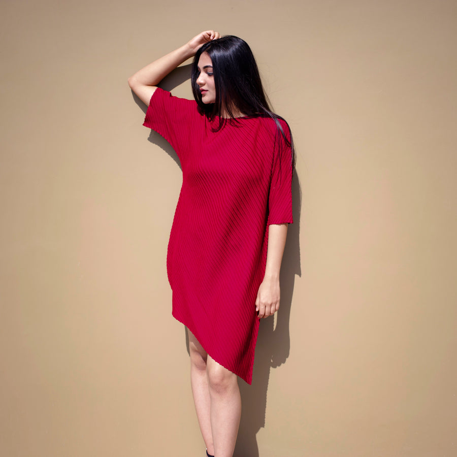 Diagonal Pleat Tunic Dress - Dark Red