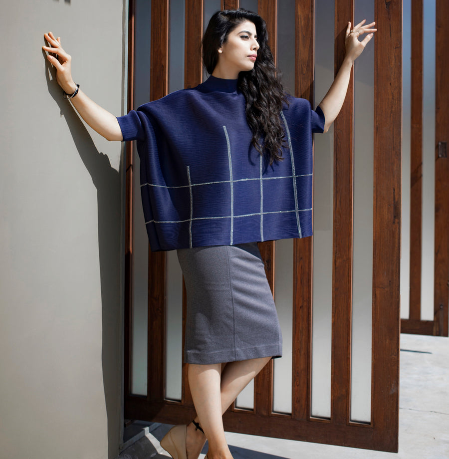 Poncho Top - Navy