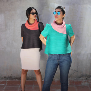 Dual Colour Turtleneck Top -Teal/Taupe