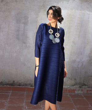 The Side Panelled Tunic Dress - Navy Blue