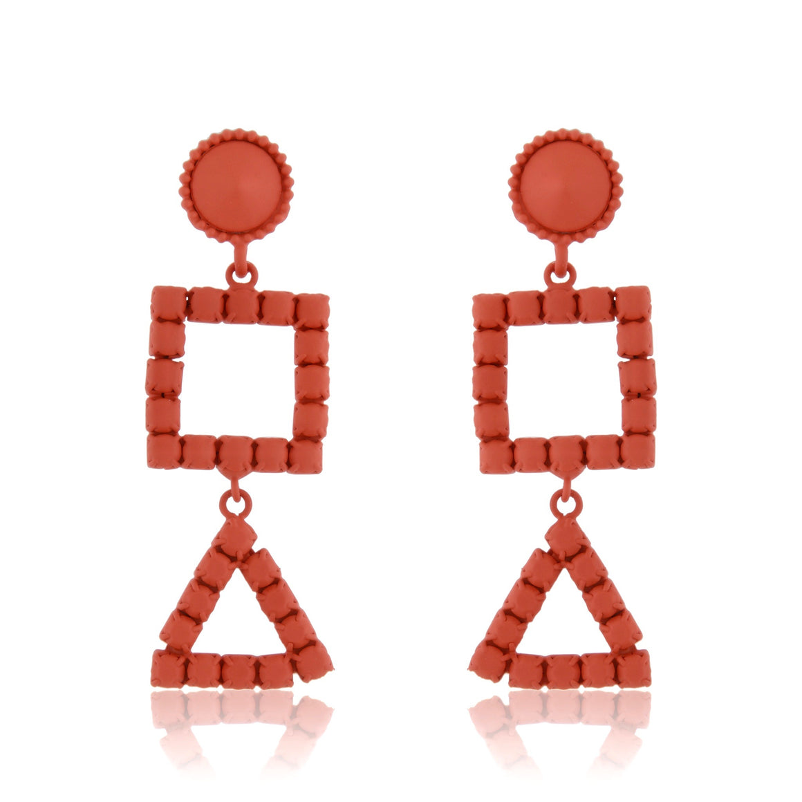 3D Geometry  Earrings - Tomato Red