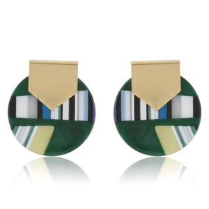 Green Abstract Marbled XL Studs