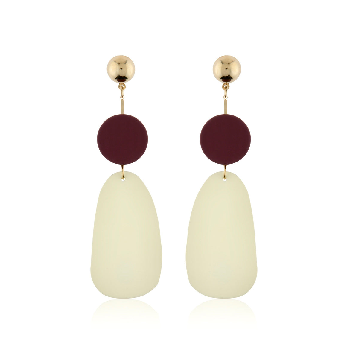Colourblock Large Statement Earrings - Gold Plum Ivory