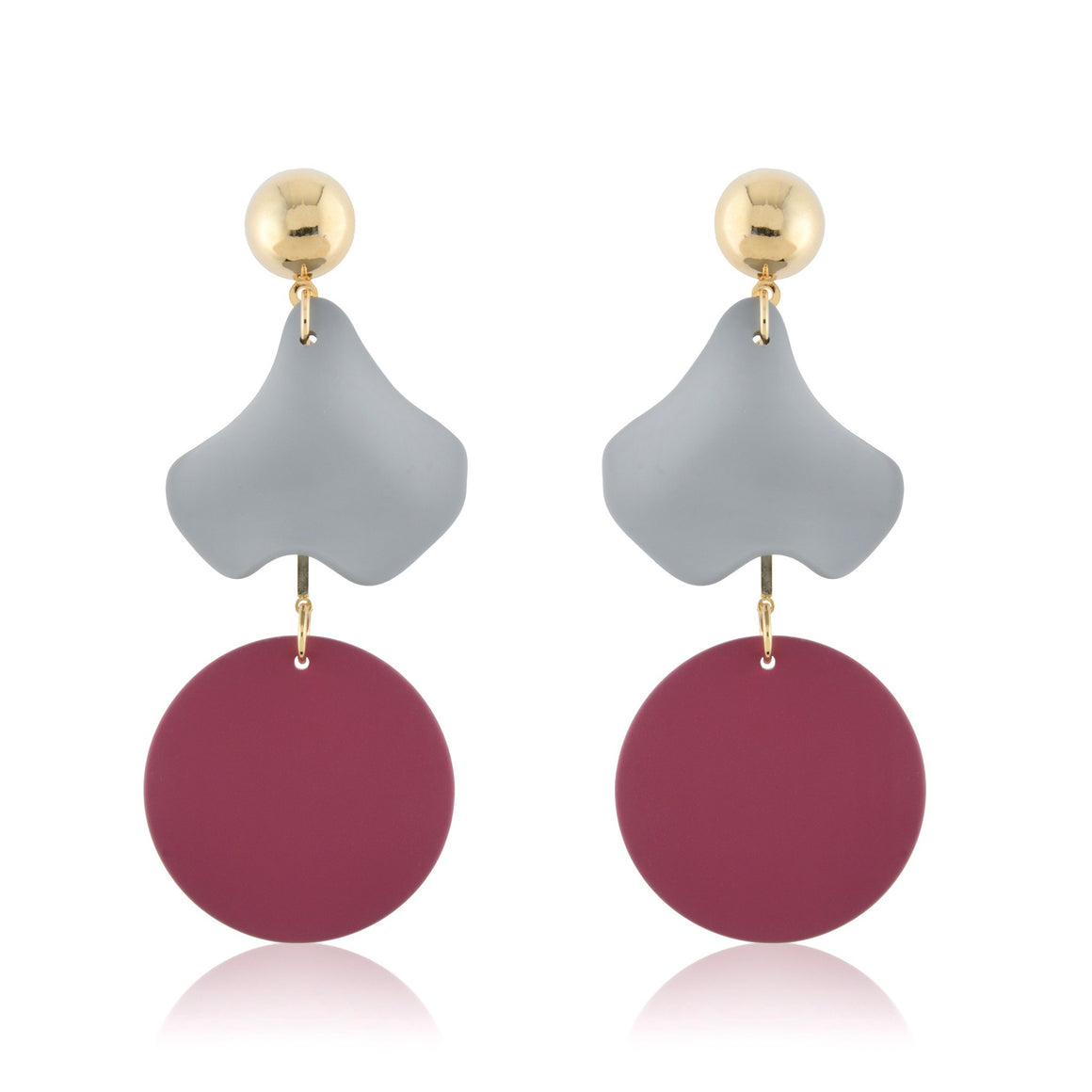 Olivia Earrings - Grey & Plum