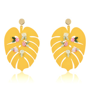 The Summer Palm Leaf Earrings - Yellow