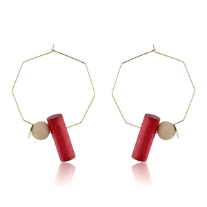 Octagonal Hoops - Red Wood