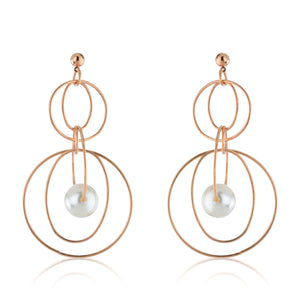 The Pearl Loop Circle Earrings - Rose Gold