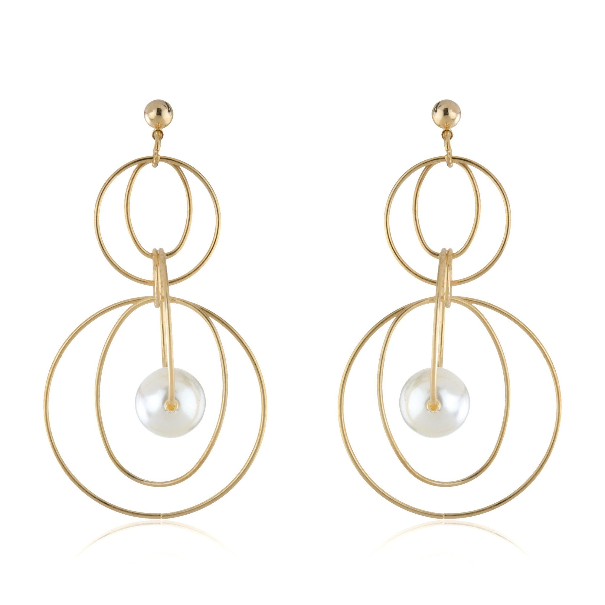 The Pearl Loop Circle Earrings - Gold