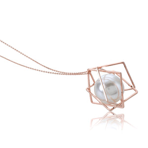 The Rhomboid Pearl Capsule Necklace -  Rose Gold