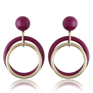 Magneta & Gold Stud + Concentric Earrings