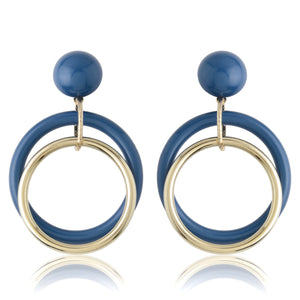 Blue & Gold Stud + Concentric Earrings