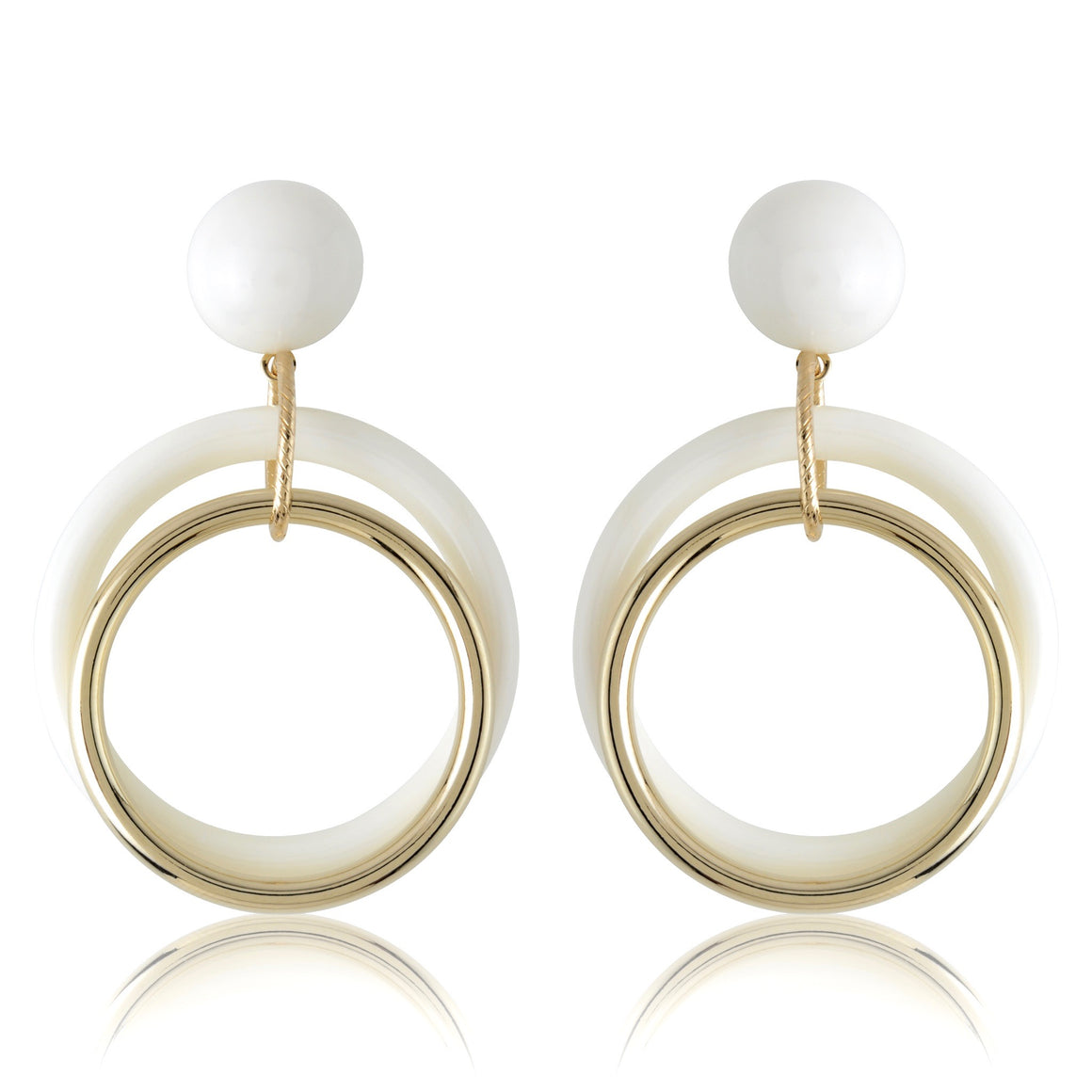 White & Gold Stud + Concentric Earrings