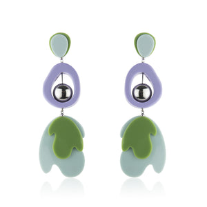 Drop Leaf Earrings  - Violet Green