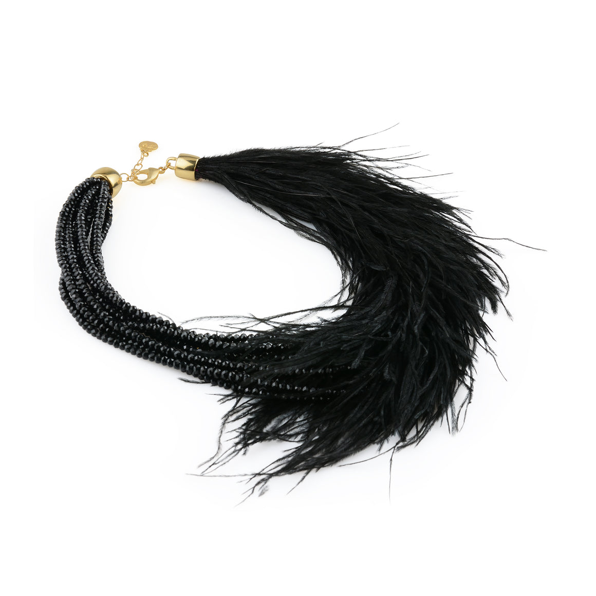 Glamour feather Necklace - Black