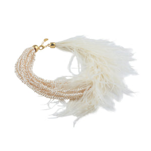 Glamour feather Neckalce - Pearl