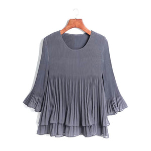 Layered Pleated Sheer Top - Grey