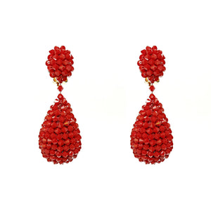 Alexis Drop Earrings -  Red Garnet