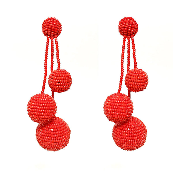 Mel Ball Earrings - Red