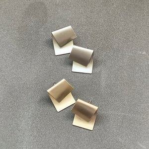 Iconic Bent Stud Earrings - Matte Silver