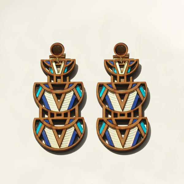 Nyo Earrings -Prussian Blue & Turquoise