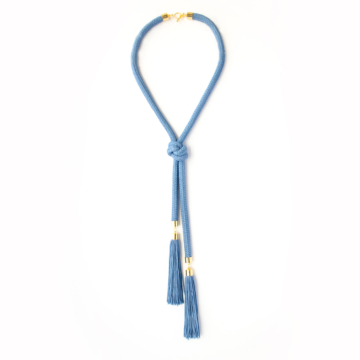 Knoted Cord Tassel Necklace - Denim Blue