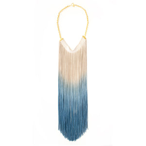 Ombre Fringe Tassel Necklace - Blue