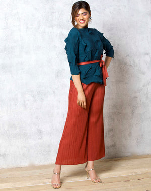 3Dimensional Pleated Top - Maroon
