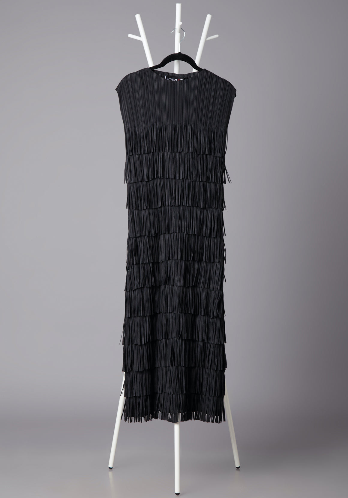 Sleeveless Fringe Tassel Dress - Black