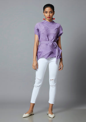 3D Short Sleeve Top - Lavender