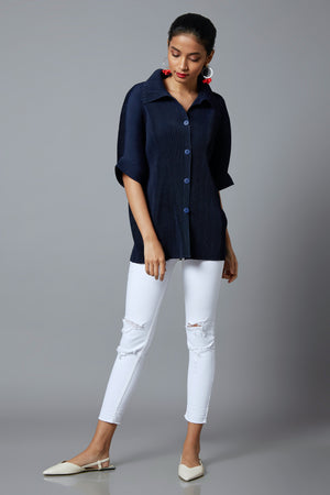 Shirt Top Monotone - Navy