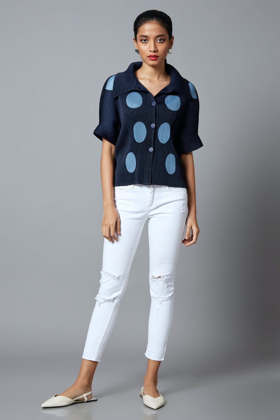 Shirt Top Polka Dot - Navy