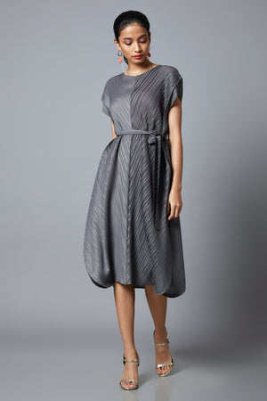 Waist Belted A Line Dress - Wine