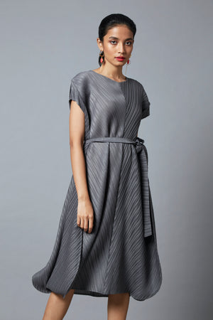 Waist Belted A Line Dress - Grey