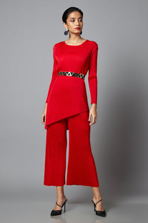 Asymmetrical Co-ord set - Red