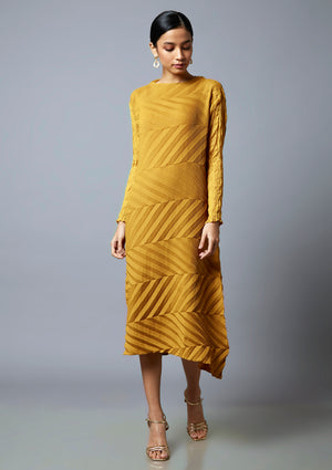 Chevron Pleated Sheer Sleeved Tunic Dress - Mustard