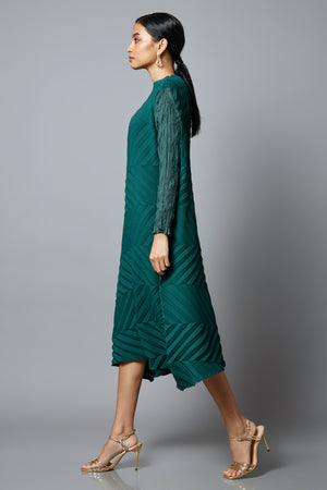 Chevron Pleated Sheer Sleeved Tunic Dress - Green