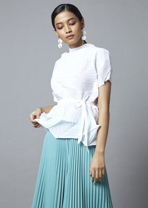 3D Short Sleeve Top - White