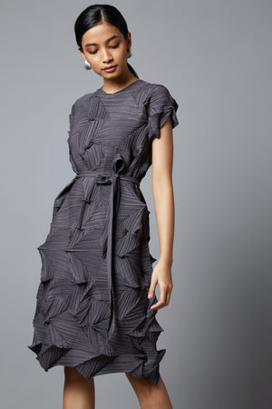 3D Belted Gia Dress - Black