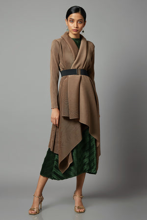 Pleated Collar Waterfall Overlay - Taupe