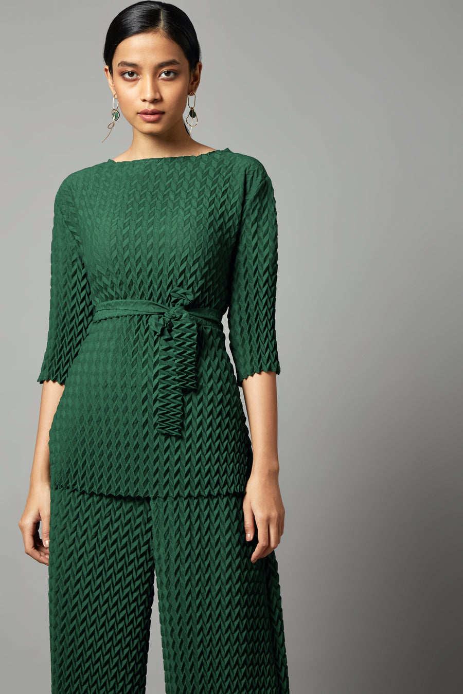 Chevron Pleated Tie Waist Co-ord Set - Dark Green