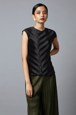 Satin Chevron Top - Black