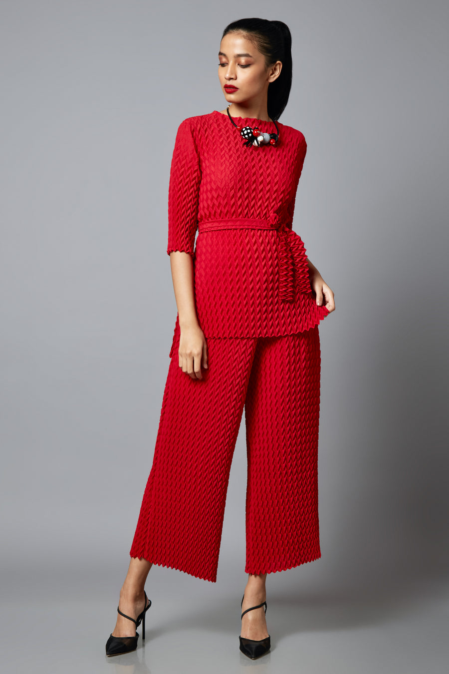 Scarlet Sage Co-ord Set Pleated Co-ord Set