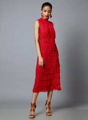 Sleeveless Fringe Tassel Dress - Red