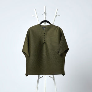 3/4th Sleeve Potli Button Top - Olive Green
