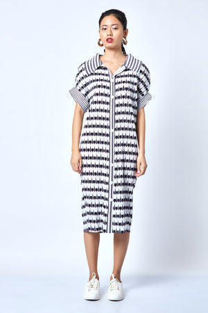 Printed Shirt Dress - Monochrome