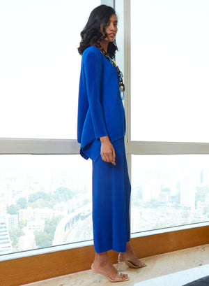 Cathy Knit Full Sleeve Lounge Set - Azure Blue