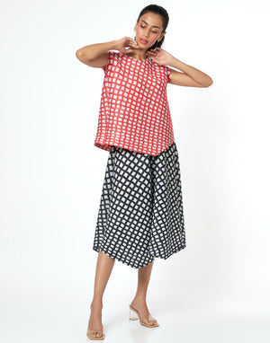Checkered Print Top - Coral